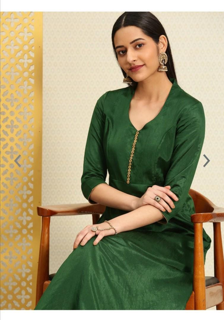 House of Pataudi Women Green Solid A-Line Kurta