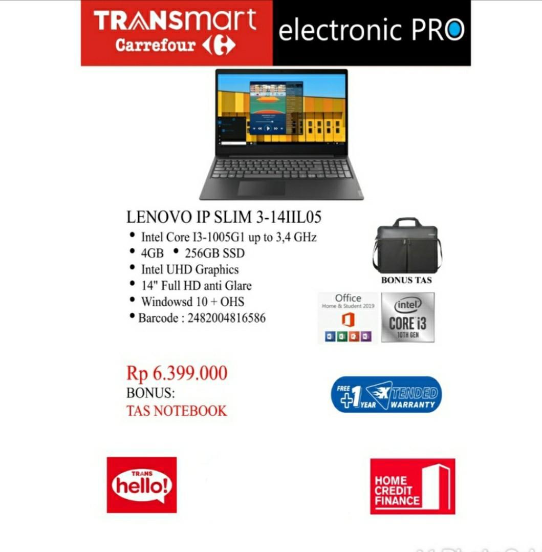 Laptop Lenovo IP Slim 3-14IIL05 Diangsur Tanpa CC