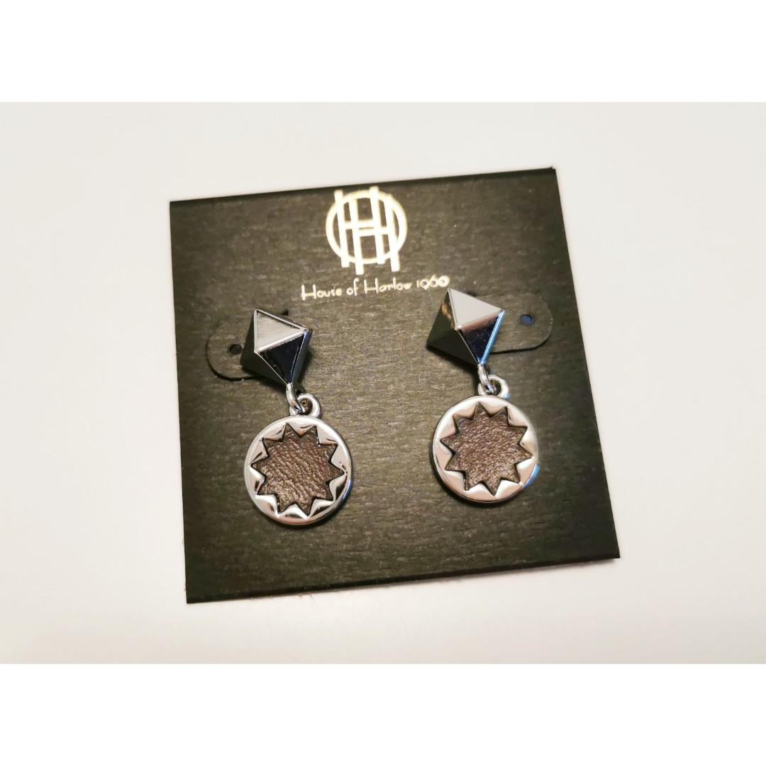 NEW House of Harlow 1960 Small Leather Sunburst Drop Earrings Rare