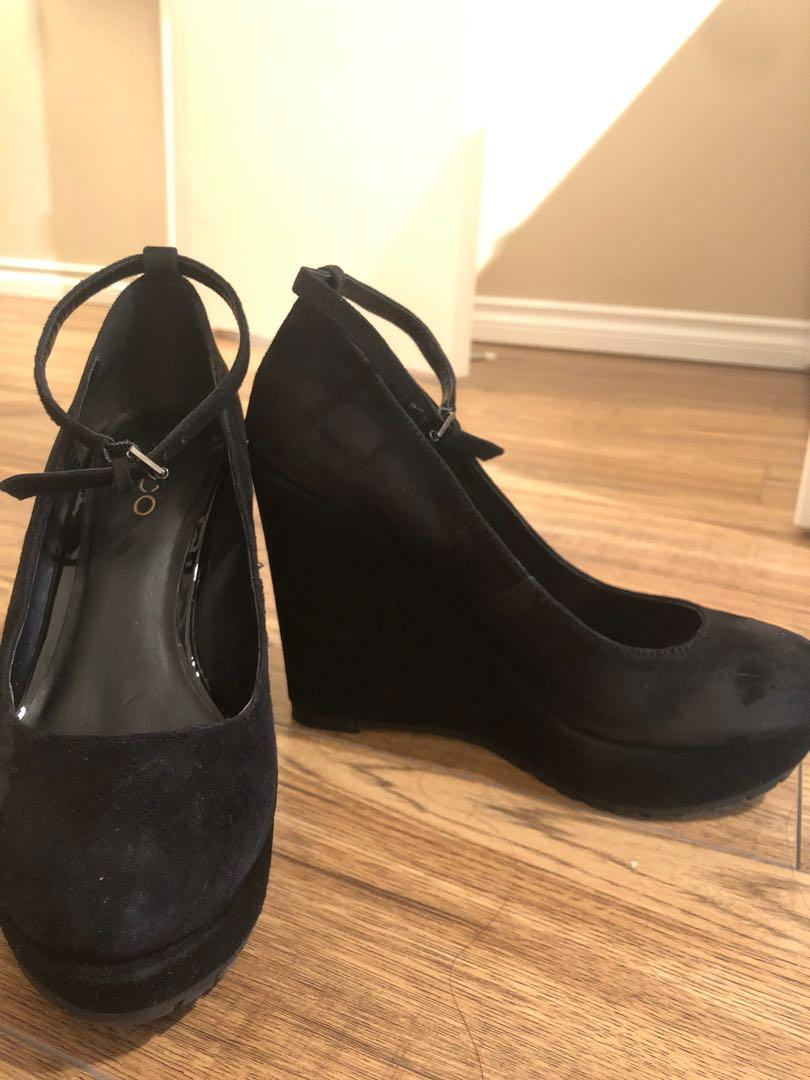 Size 7 Black Suede Wedges w/ Ankle Strap