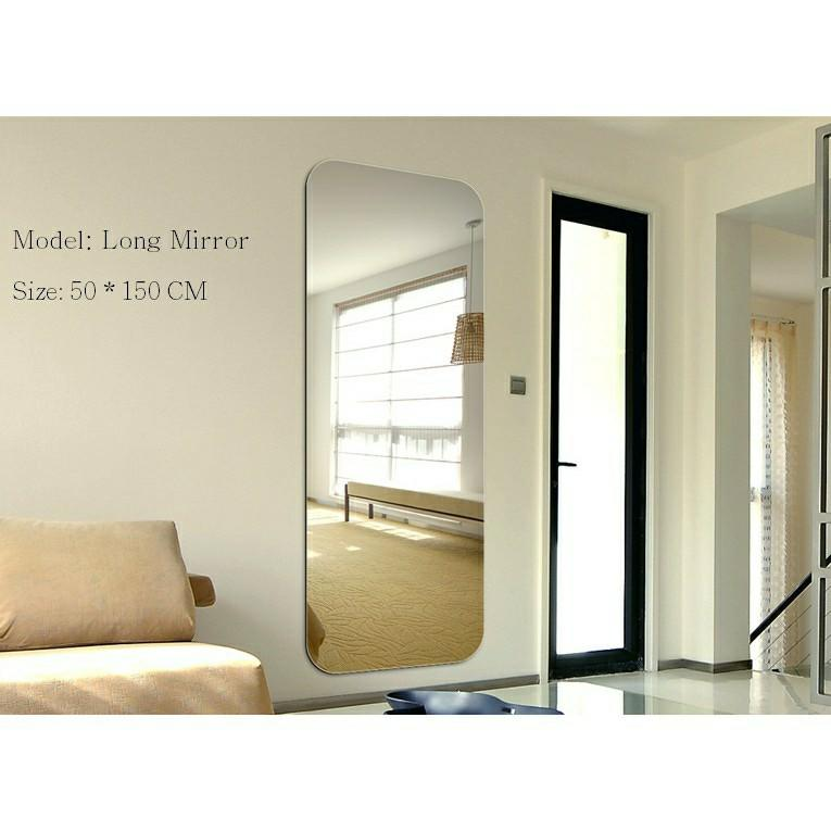 150 50cm Diy Adhesive Long Wall Mirror Home Decor Mirrors Furniture Sg Furniture Others On Carousell