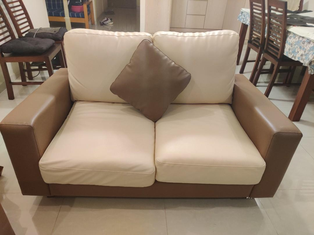 3+2 microfiber leather sofa set in good condition for sale - PRICE NEGOTIABLE