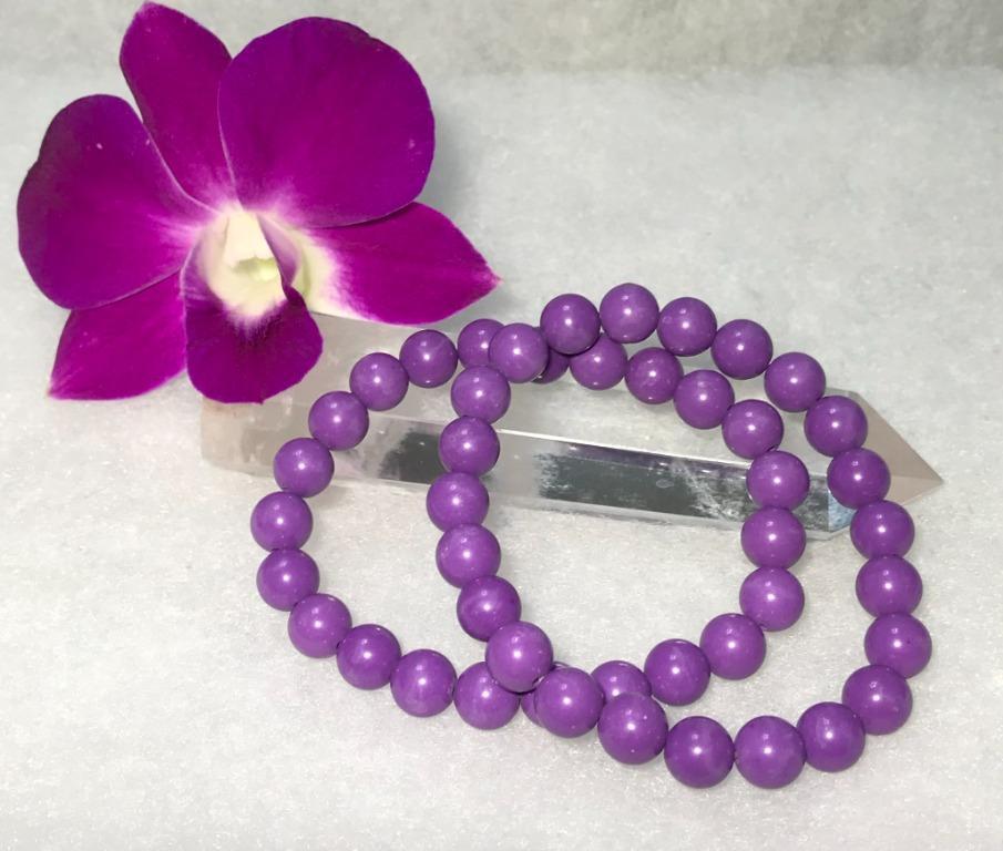 神秘、高貴、優雅 情人石~天然紫雲母圓珠單圈手鍊 8+ (附證書) (隨機出貨)