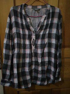 棉質 格紋 長袖 襯衫