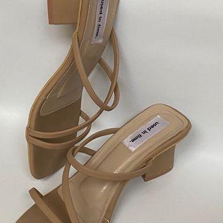 Beige Brown Nude Heels Block Korean Tahu