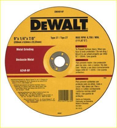 DeWalt 9'' DW4914F-AR Metal Grinding Disc