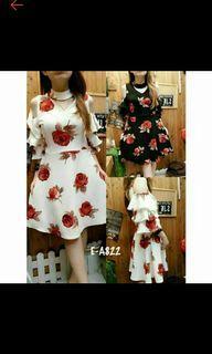 Dress putih bunga merah sabrina preloved bekas halter