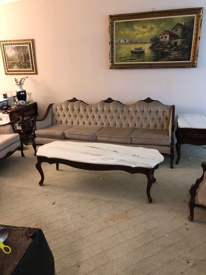 French Provincial Couch and 2 Chaits