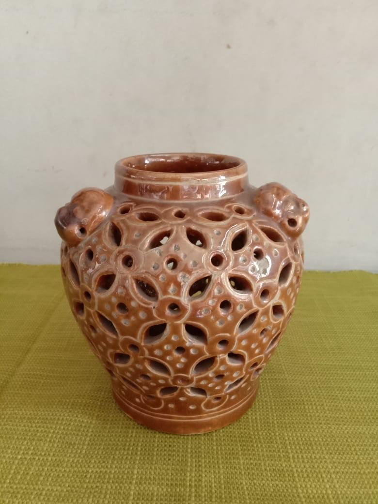 Guci ceramic china krawangan coklat