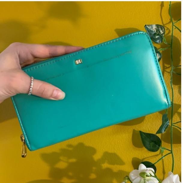 large aqua blue wallet