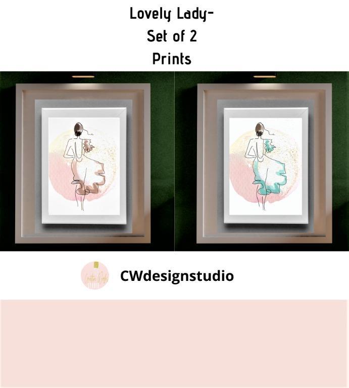 Lovely Lady, Set of 2 Prints, Printable Digital File, Wall Art Print and Decor,