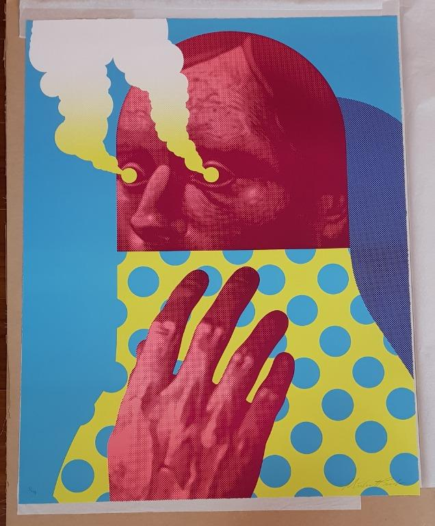Michael Reeder Last Gasp lithography, blue edition