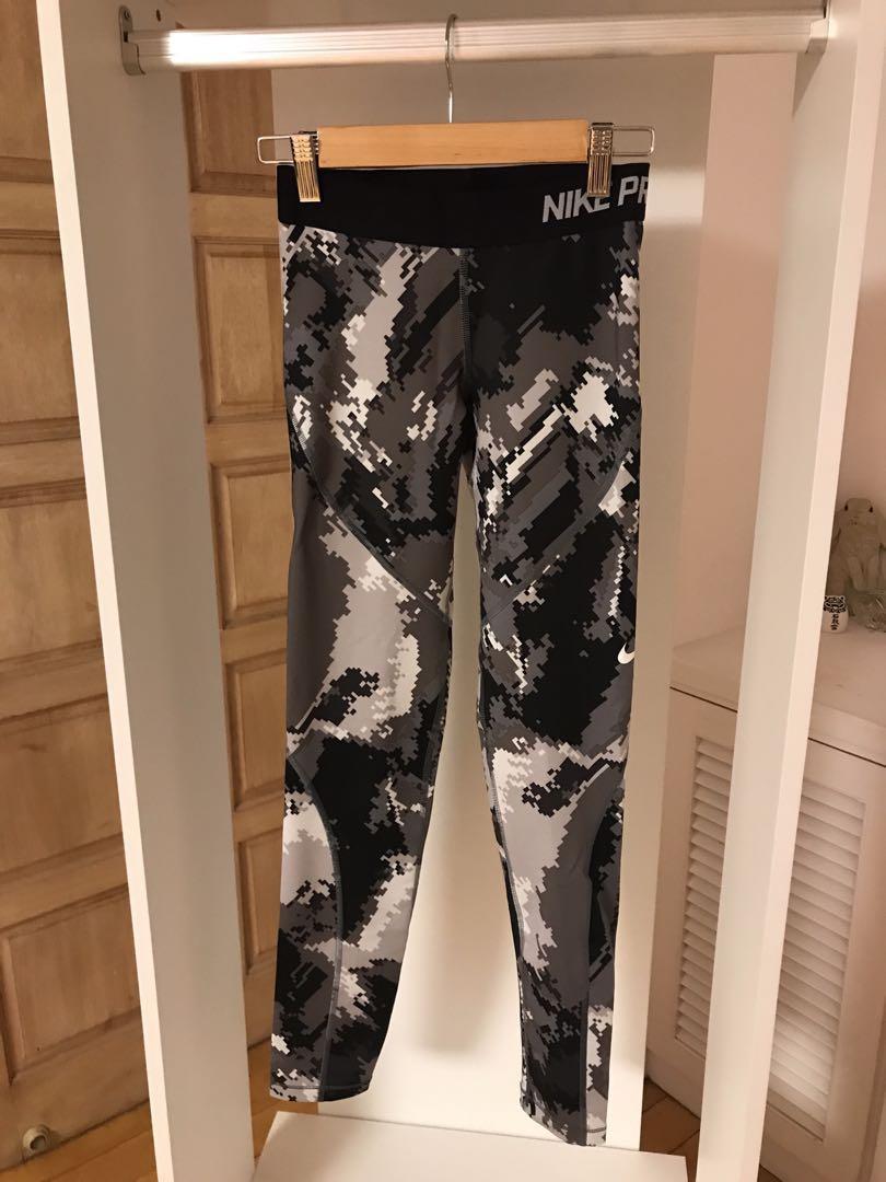 Nike 內刷絨迷彩健身瑜伽運動褲 厚款 leggings