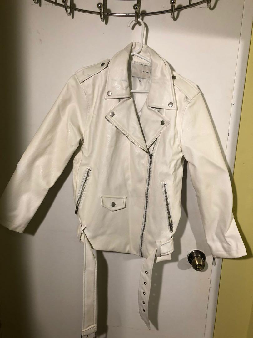 Oak+Fort White Leather Jacket