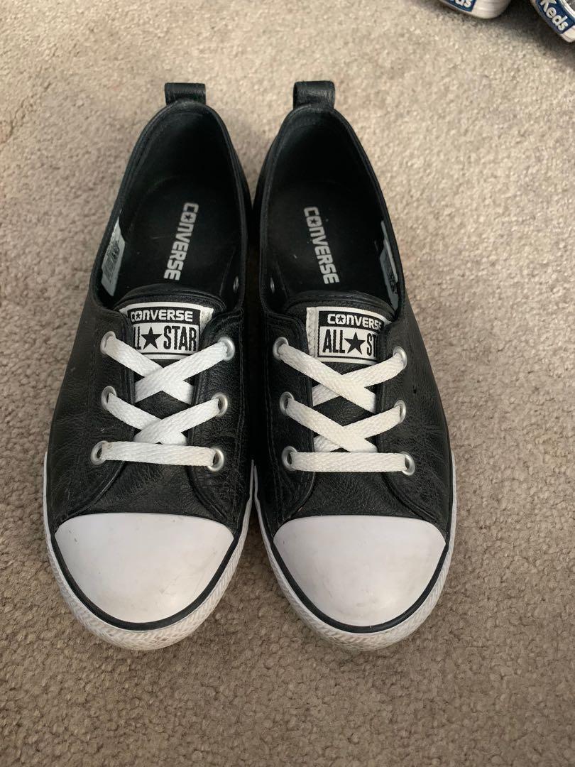 Size 8 faux leather converse
