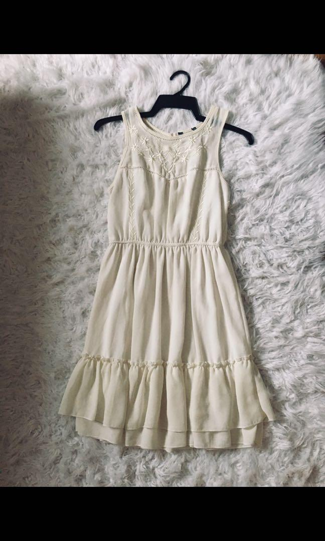 Soft off white chiffon lined dress