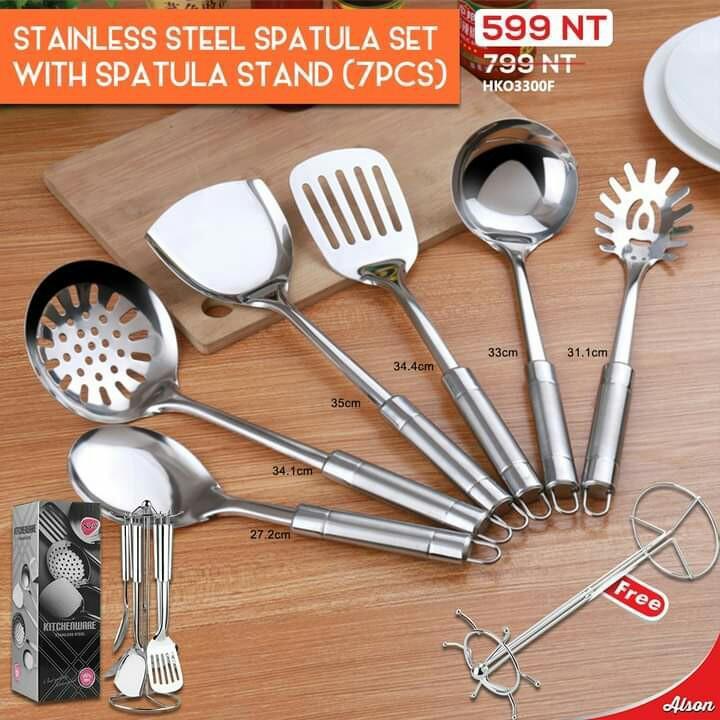 Stainless steel spatula set with spatula stand(7pcs)