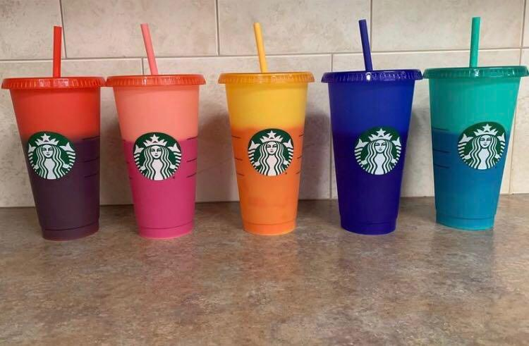 Starbucks  color changing reusable cold cups