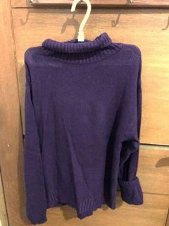 Sweater rajut turtleneck ungu tua