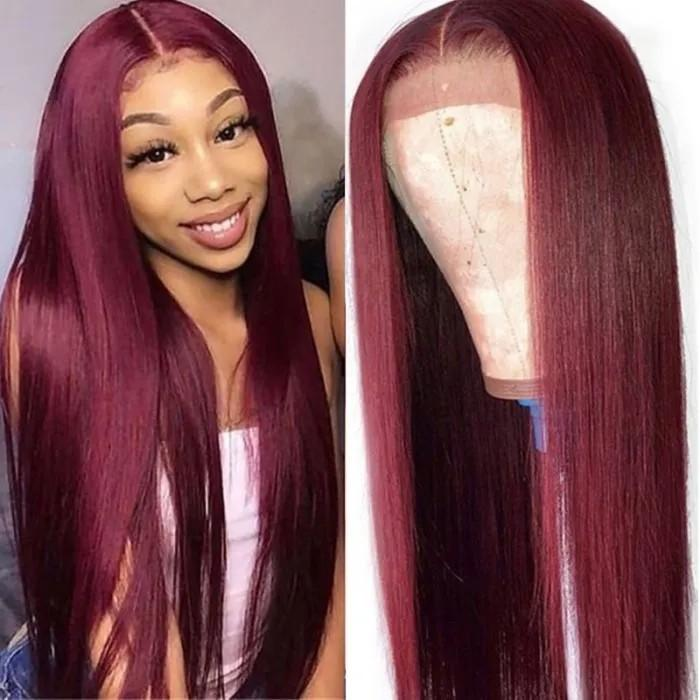 Transparent 22 inch Brazilian Straight Human Hair Wig Orange Ginger Topline Lace Part Wigs Remy Human Hair Wigs Pre Plucked