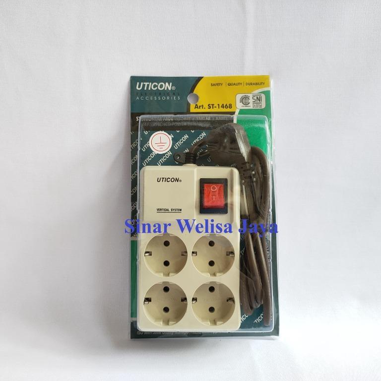 Uticon Stop Kontak Arde 4 Soket + Saklar + Kabel 1.5M Kotak (ST-1468)