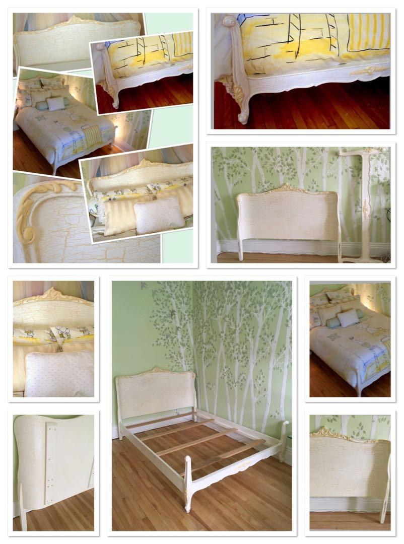 Vintage(1940's) wood double bed painted/antiqued (7 layer) by a designer