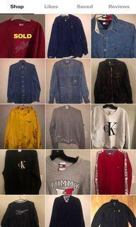 VINTAGE jackets and sweater shirts