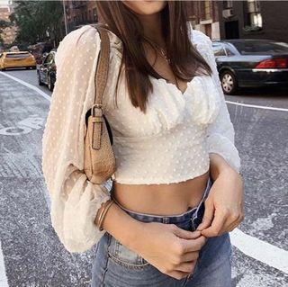 White Puffy Sleeved Top