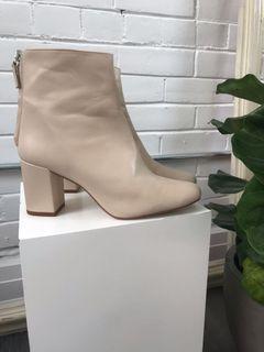 ZARA beige leather boots