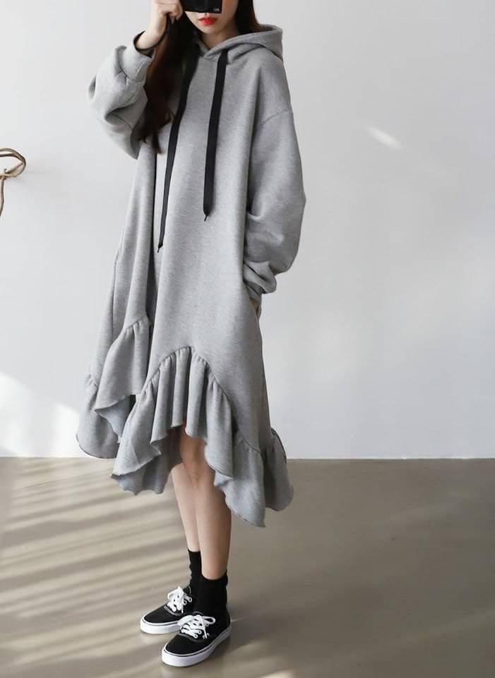 正韓洋裝     不規則下擺連帽洋裝--萬年熱賣款