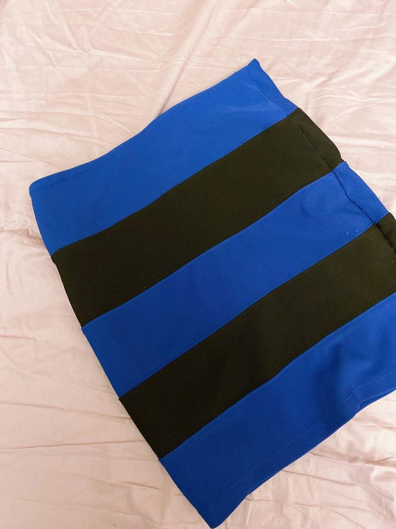 Black and blue pencil skirt