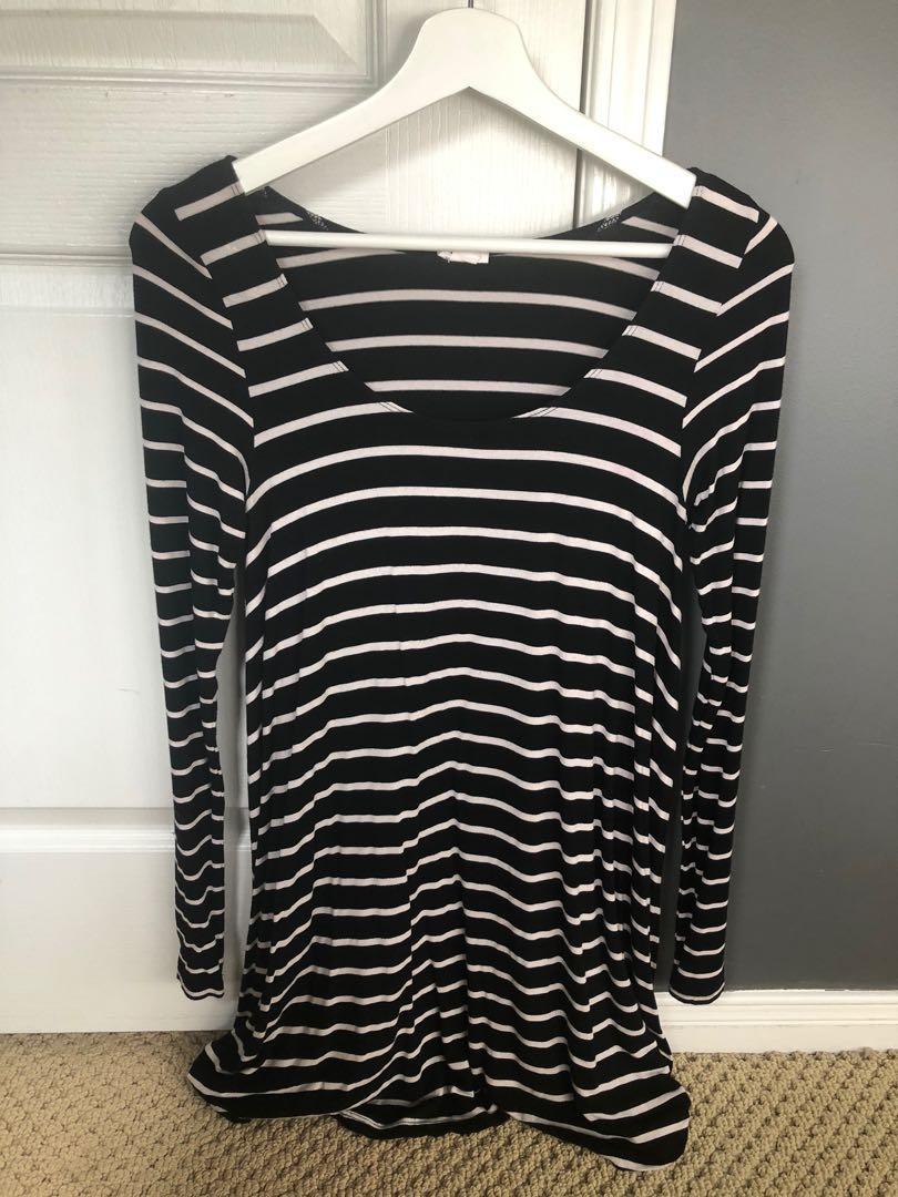GARAGE striped long sleeve dress