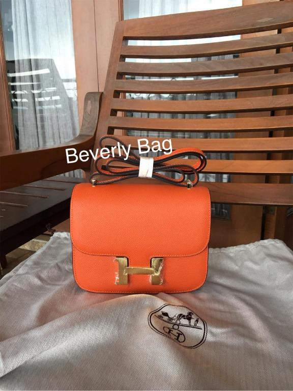 Jual Tas Bag H Constance Leather Mirror Quality - orange GHW