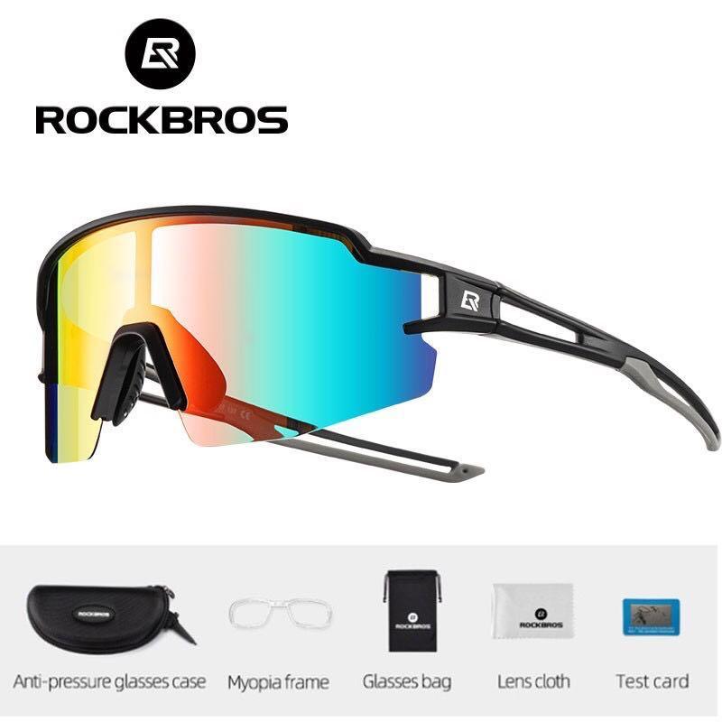 RockBros Photochromic Cycling Polarized Sunglasses Built-in Myopia Frame Sports