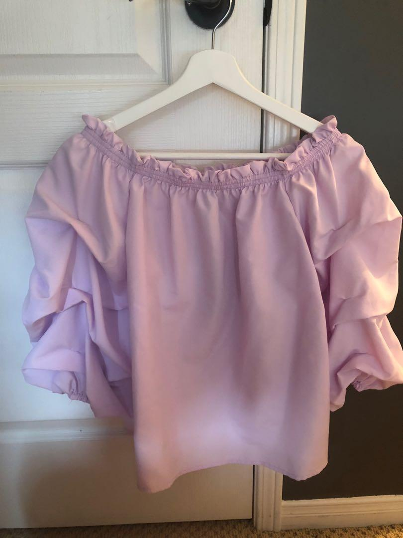 SIRENS purple and yellow off the shoulder ruffle blouse