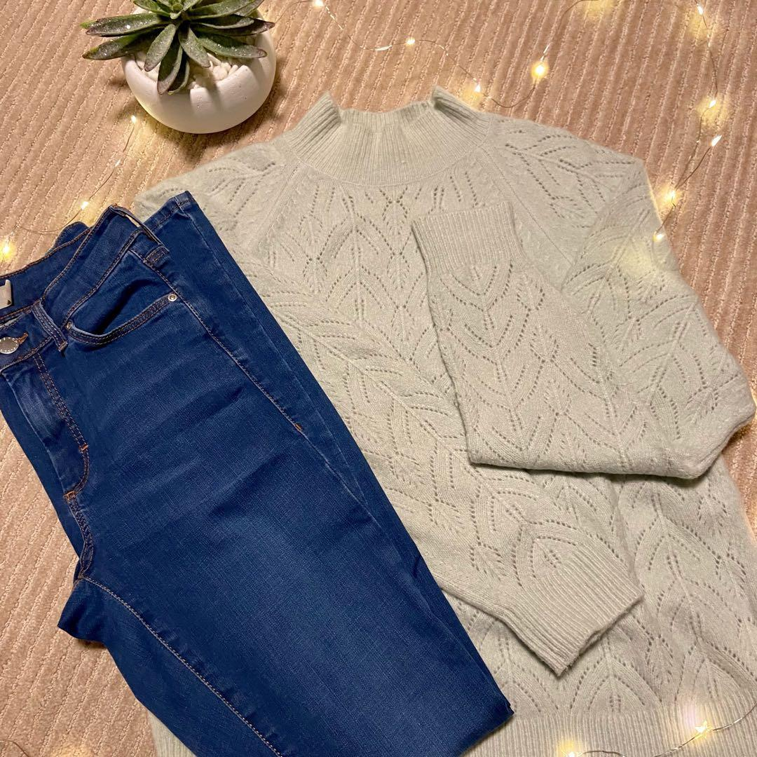 Uniqlo knit sweater, Topshop jeans
