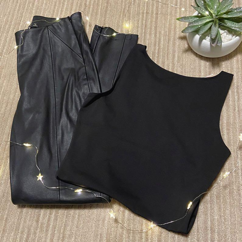 Zara faux leather leggings, H&M bodysuit NWT
