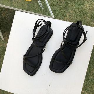 韓平底方頭系帶羅馬涼鞋-黑色37