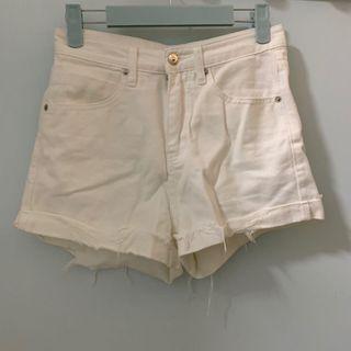 全新白色軟身牛仔短褲