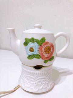 古典歐洲 霧面白瓷茶壺小夜燈 亮度可調