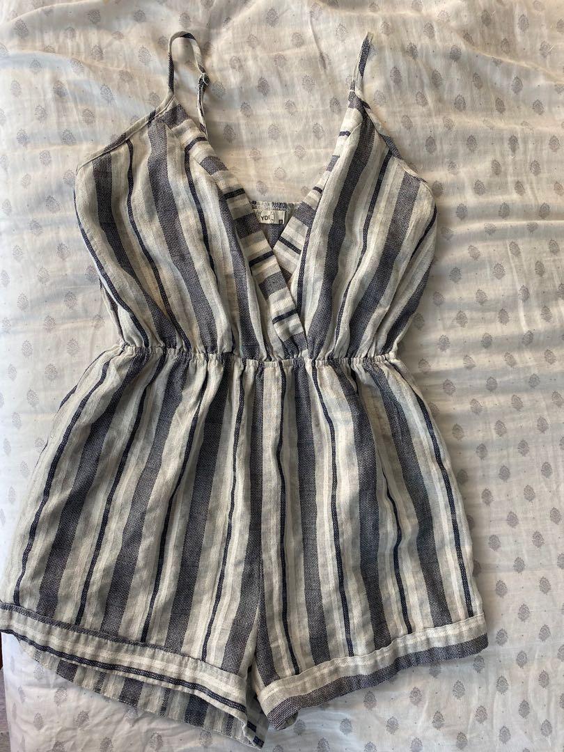 Blue Striped Linen Romper Size Small