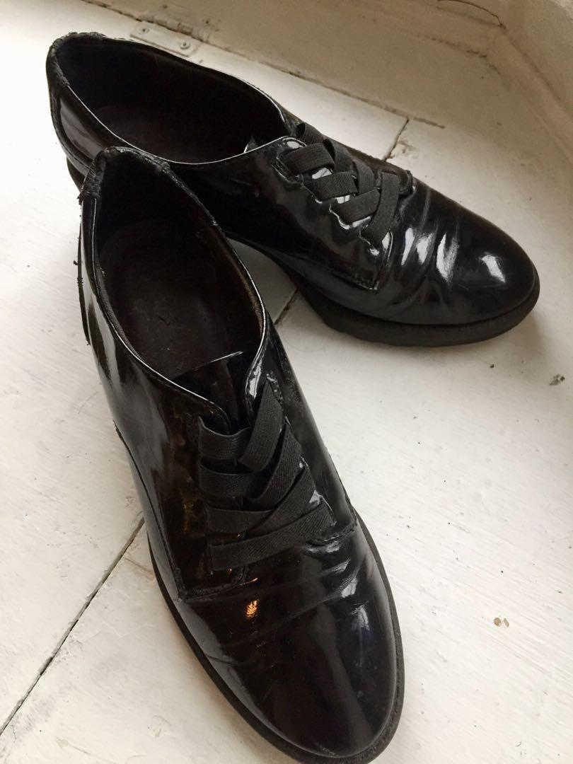 Chunky heeled brogue style shoes