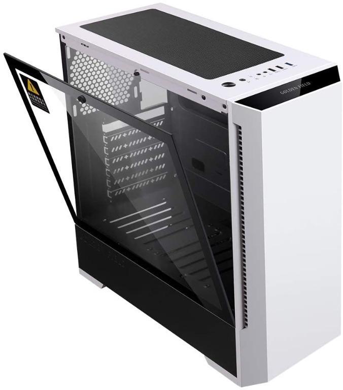 GOLDEN FIELD P2 ATXMATXITX Computer PC Gaming Case, Tempered Glass Side Panel