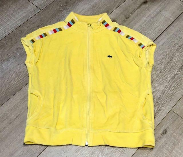 Lacoste yellow vest with colourful stripe