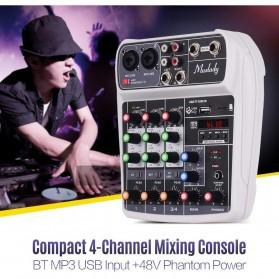 Muslady Professional Compact Mixing Console Mixer 4 Channel Phantom Power 48V - AI-4