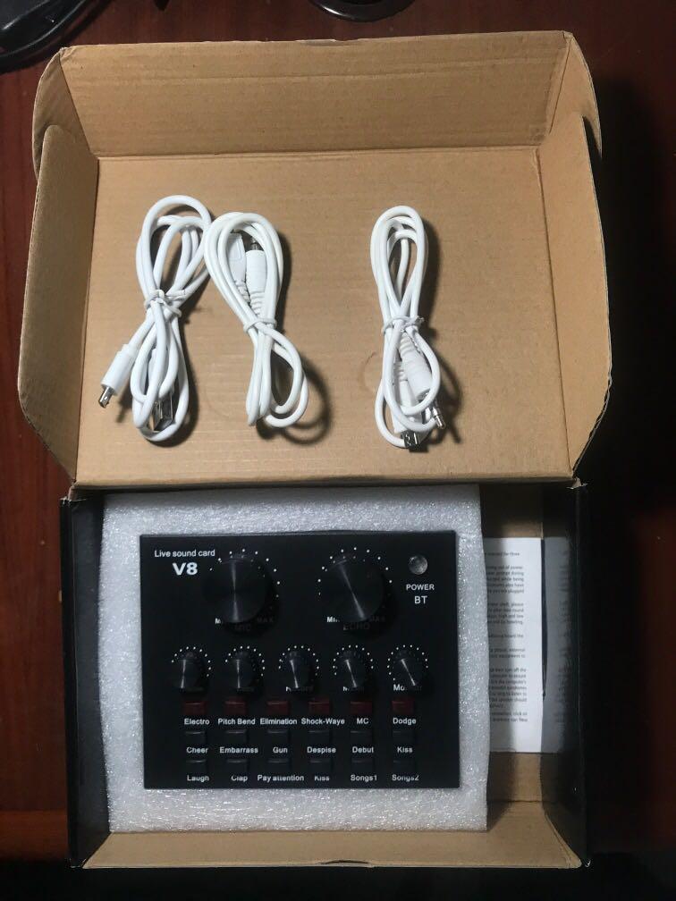 Soundcard V8 External Audio Inteface (untuk menyambung mic ke laptop/HP bisa)