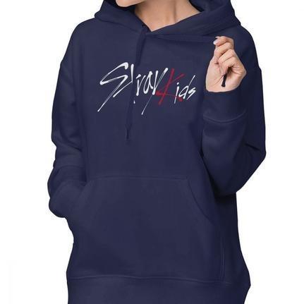 Stray Kids Hoodie Stray Kids Logo Hoodies XL Street wear Hoodies Women Gray Sweet Cotton Long-sleeve Graphic Pullover Hoodie  (Set 1)