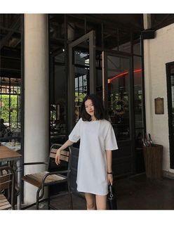 白色棉質長Tee 白色裙