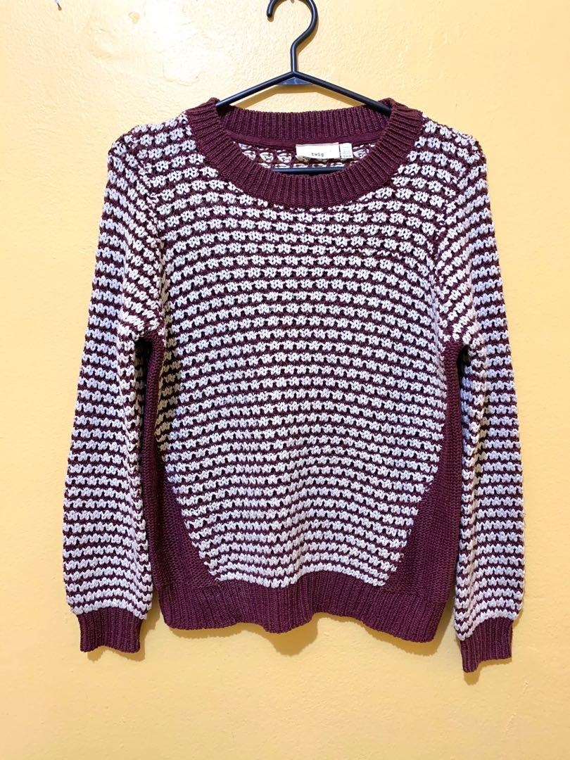 Vintage style twig sweater women's small