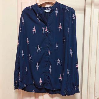 正韓 芭蕾舞女孩 深藍 雪紡 上衣 襯衫 #二手價